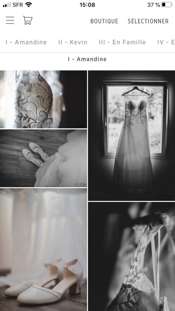 Galerie photo de mariage sur smartphone