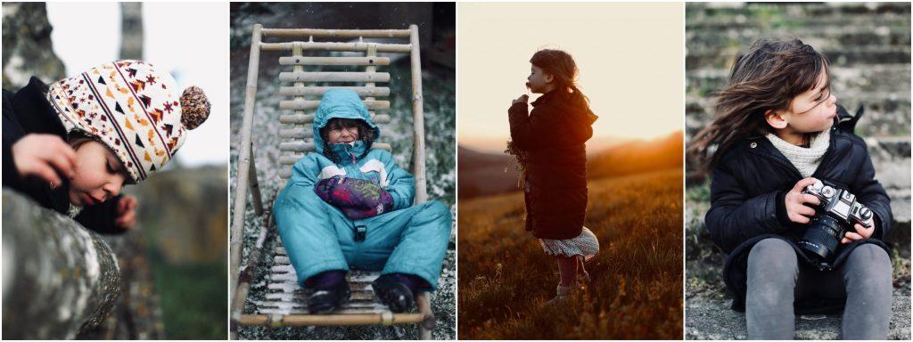 Photographe-Famille-Clermont-Ferrand-Montage de quatre photos du même enfant durant les quatre saisons